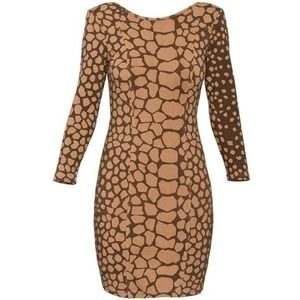 Aritzia Wilfred Nude and Black Print Bodycon Dress